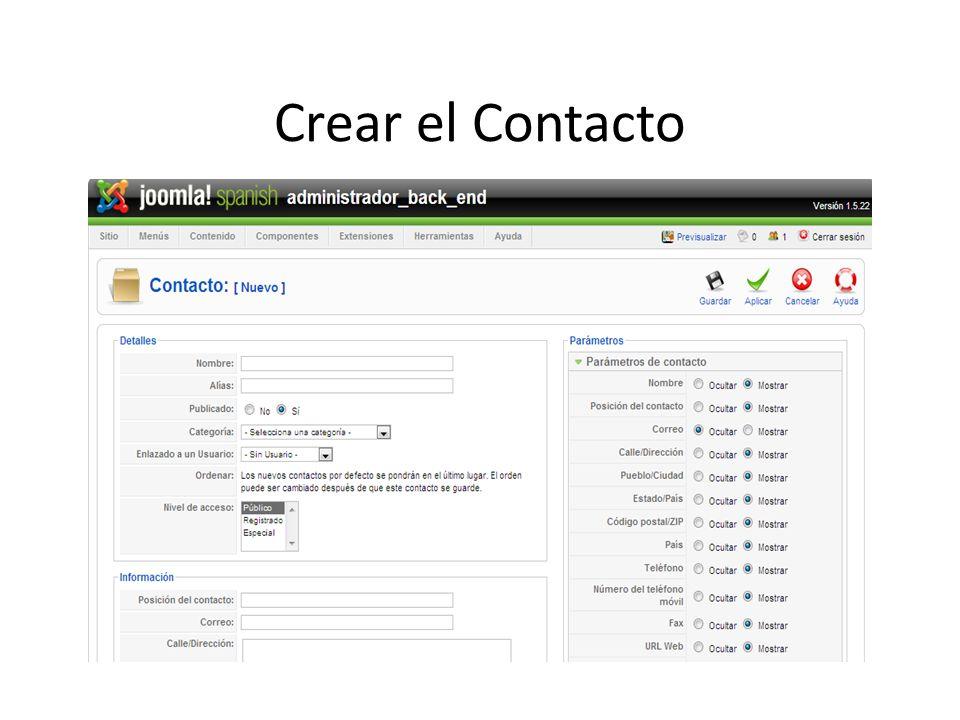Crear el Contacto