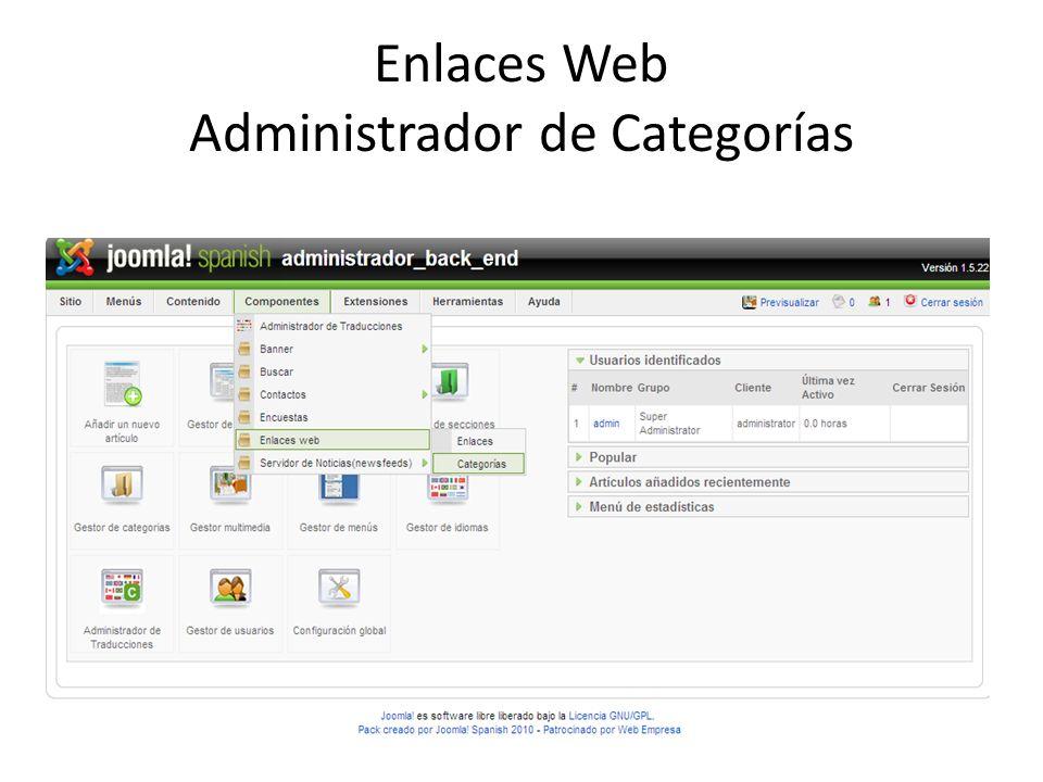 Enlaces Web Administrador de Categorías