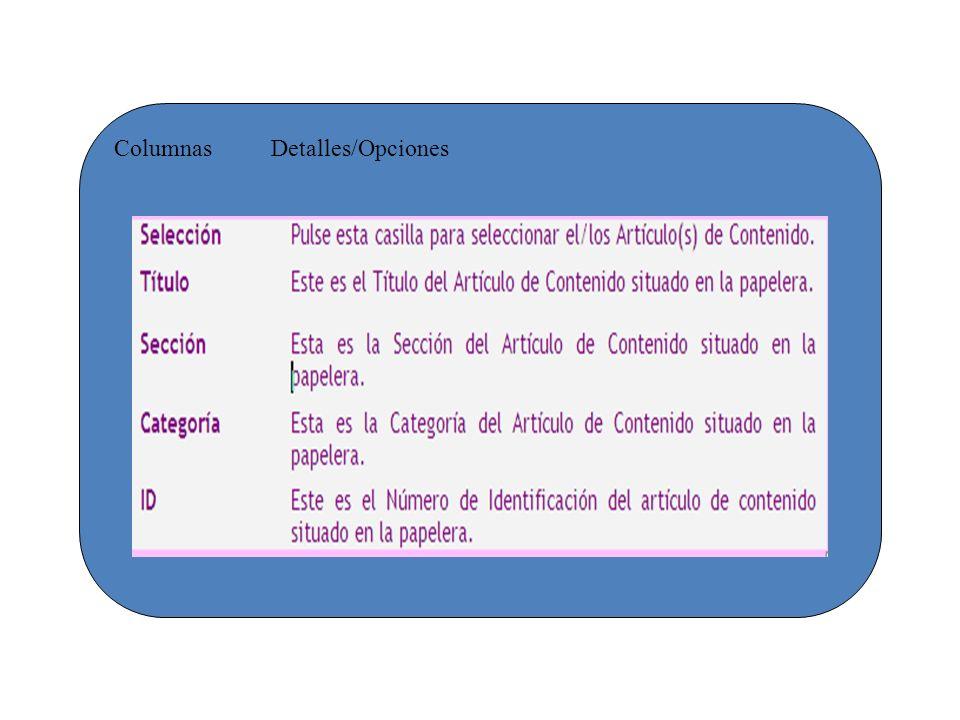 Columnas Detalles/Opciones