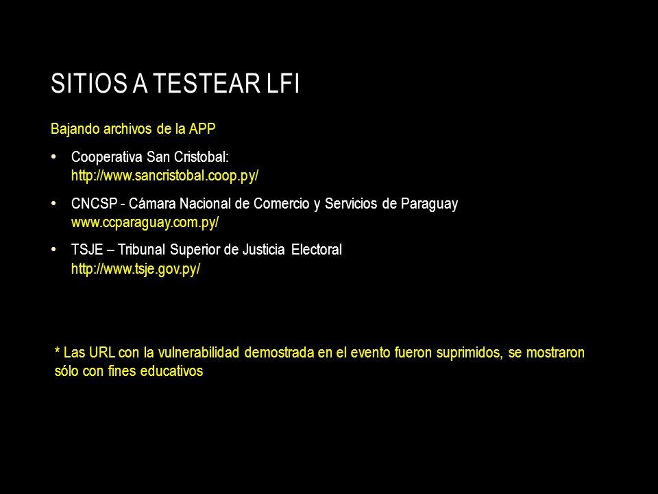 SITIOS A TESTEAR LFI Bajando archivos de la APP Cooperativa San Cristobal: http://www.sancristobal.coop.py/ CNCSP - Cámara Nacional de Comercio y Serv