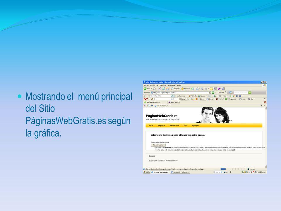 Sitio No. 2 Sitio No. 2 Gamarod.com En este caso para efectos del ejemplo seleccionamos el sitio www. gamarod.com desplegando el menú principal de dic