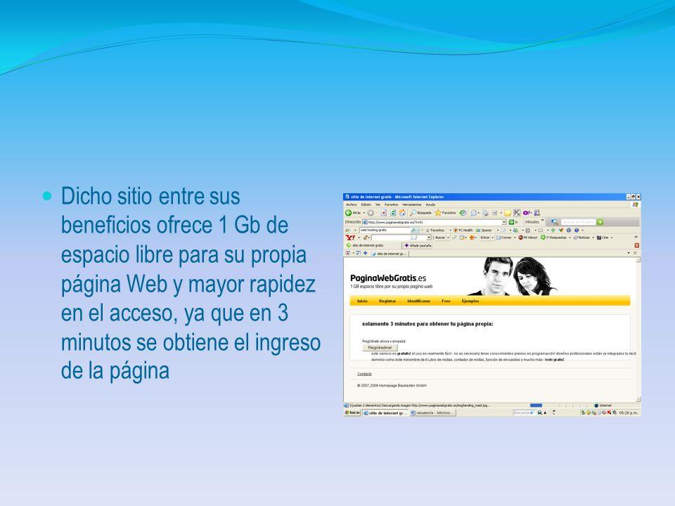 Mostrando el menú principal del Sitio PáginasWebGratis.es según la gráfica.
