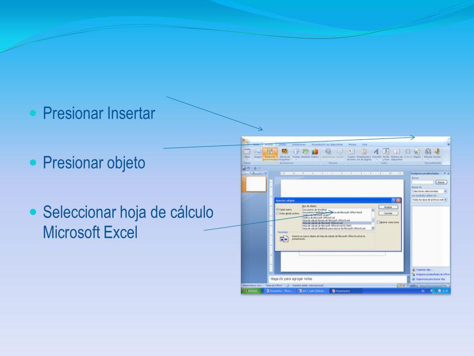 1.5. Explique los pasos para presentar una gráfica o una hoja de Excel