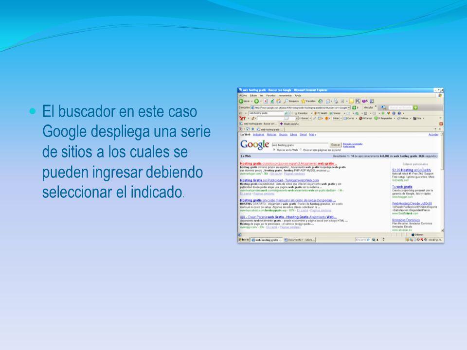 Secuencia Gráfica Debe ingresar a Internet Explorer y seleccionar un buscador. Indicar el nombre del tema que deseamos buscar, en este caso Web Hostin