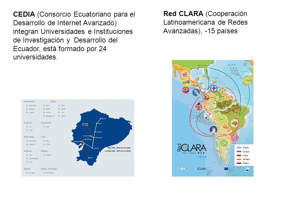 CEDIA (Consorcio Ecuatoriano para el Desarrollo de Internet Avanzado) integran Universidades e Instituciones de Investigación y Desarrollo del Ecuador