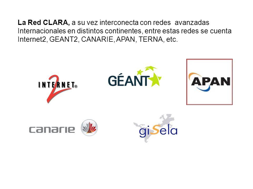 La Red CLARA, a su vez interconecta con redes avanzadas Internacionales en distintos continentes, entre estas redes se cuenta Internet2, GEANT2, CANAR