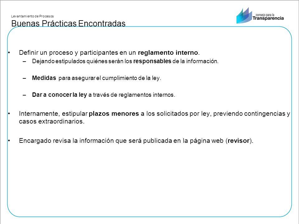 Levantamiento de Procesos Buenas Prácticas Encontradas Definir un proceso y participantes en un reglamento interno.