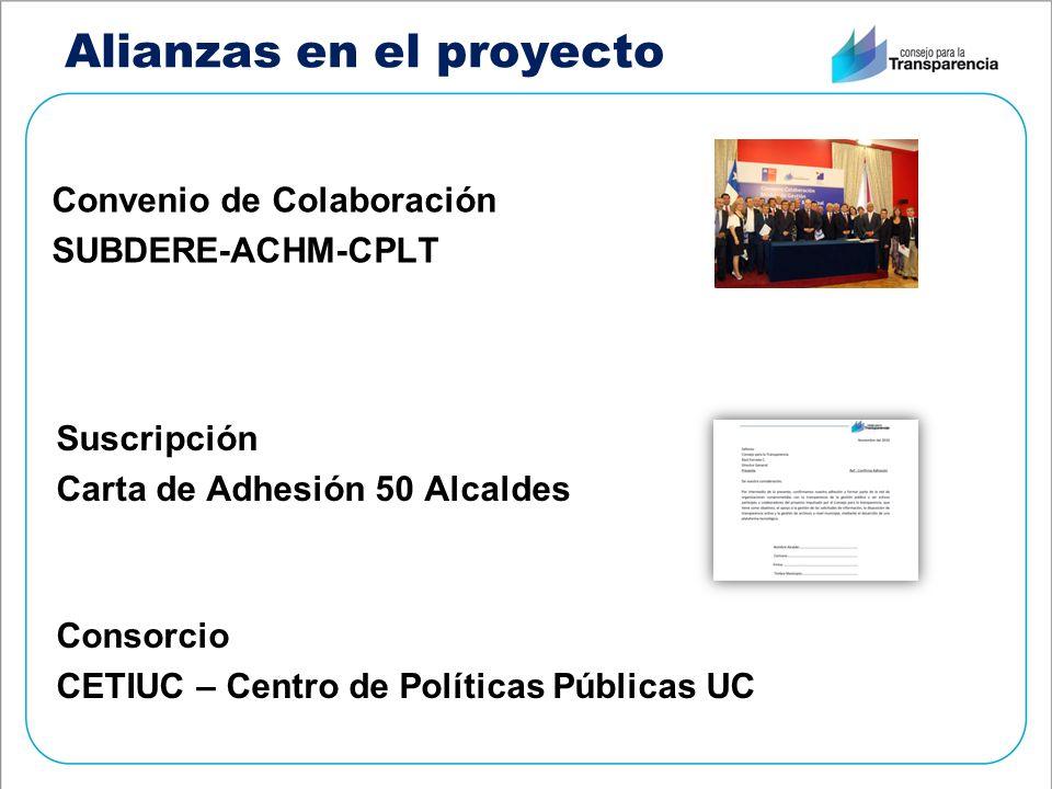 Alianzas en el proyecto Convenio de Colaboración SUBDERE-ACHM-CPLT Suscripción Carta de Adhesión 50 Alcaldes Consorcio CETIUC – Centro de Políticas Públicas UC