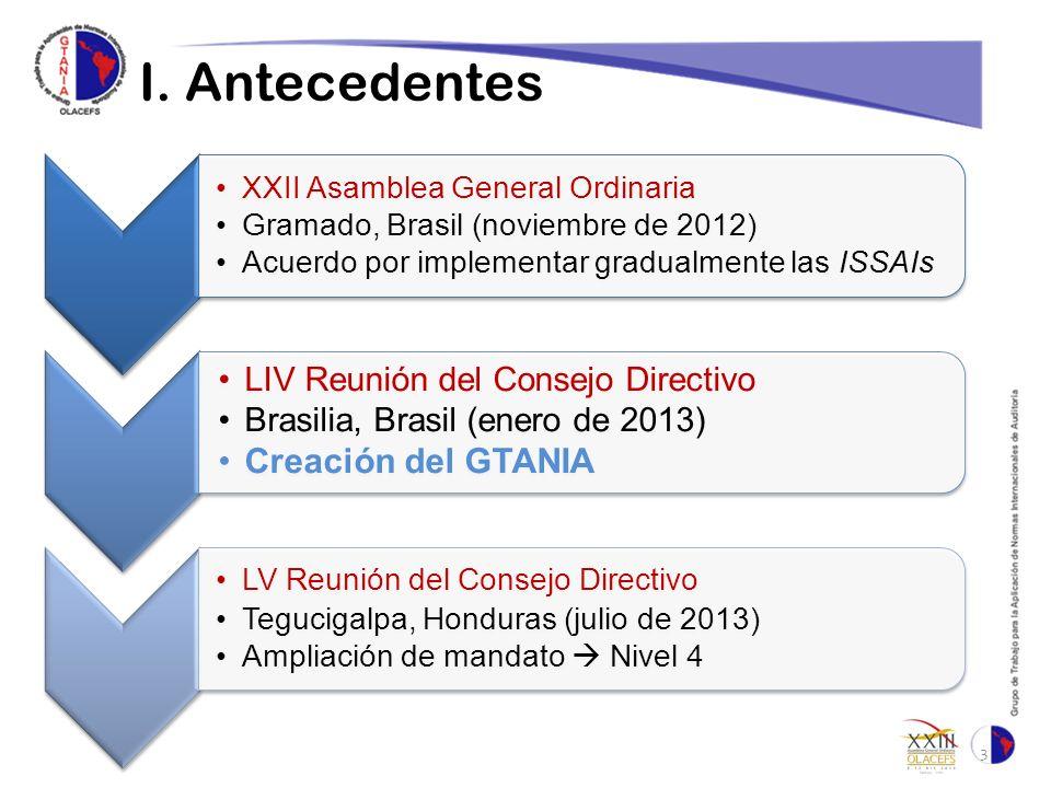 I. Antecedentes 3 XXII Asamblea General Ordinaria Gramado, Brasil (noviembre de 2012) Acuerdo por implementar gradualmente las ISSAIs LIV Reunión del