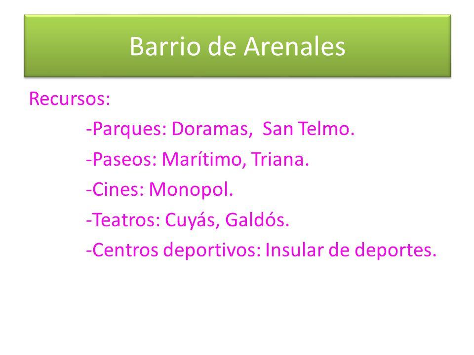 Barrio de Arenales Recursos: -Parques: Doramas, San Telmo.
