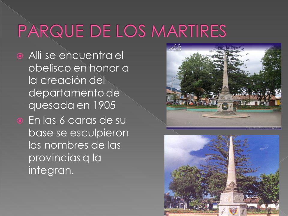 Allí se encuentra el obelisco en honor a la creación del departamento de quesada en 1905 En las 6 caras de su base se esculpieron los nombres de las provincias q la integran.