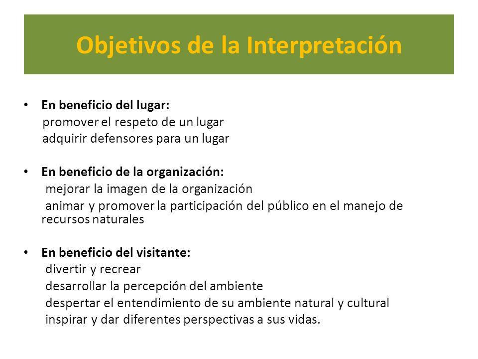 Objetivos de la Interpretación En beneficio del lugar: promover el respeto de un lugar adquirir defensores para un lugar En beneficio de la organizaci