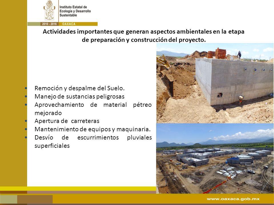 Actividades importantes que generan aspectos ambientales en la etapa de preparación y construcción del proyecto. Remoción y despalme del Suelo. Manejo
