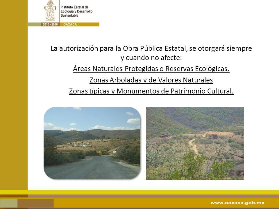 La autorización para la Obra Pública Estatal, se otorgará siempre y cuando no afecte: Áreas Naturales Protegidas o Reservas Ecológicas. Zonas Arbolada