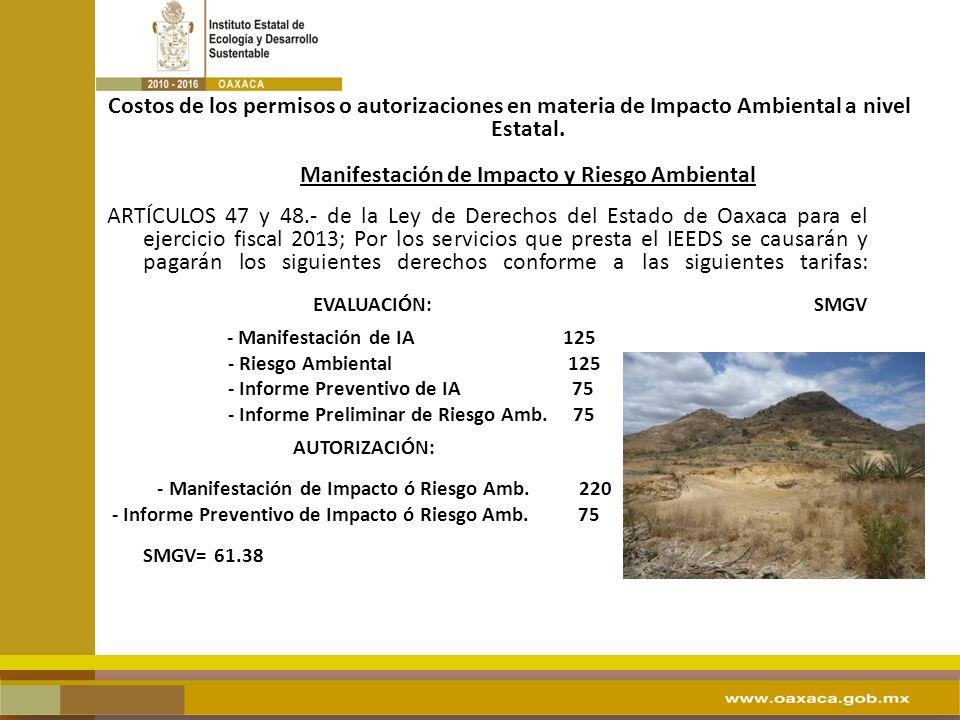 Costos de los permisos o autorizaciones en materia de Impacto Ambiental a nivel Estatal. Manifestación de Impacto y Riesgo Ambiental ARTÍCULOS 47 y 48