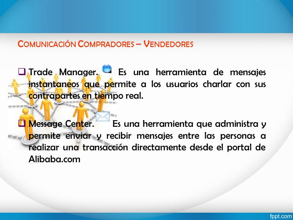 C OMUNICACIÓN C OMPRADORES – V ENDEDORES Trade Manager. Es una herramienta de mensajes instantaneos que permite a los usuarios charlar con sus contrap