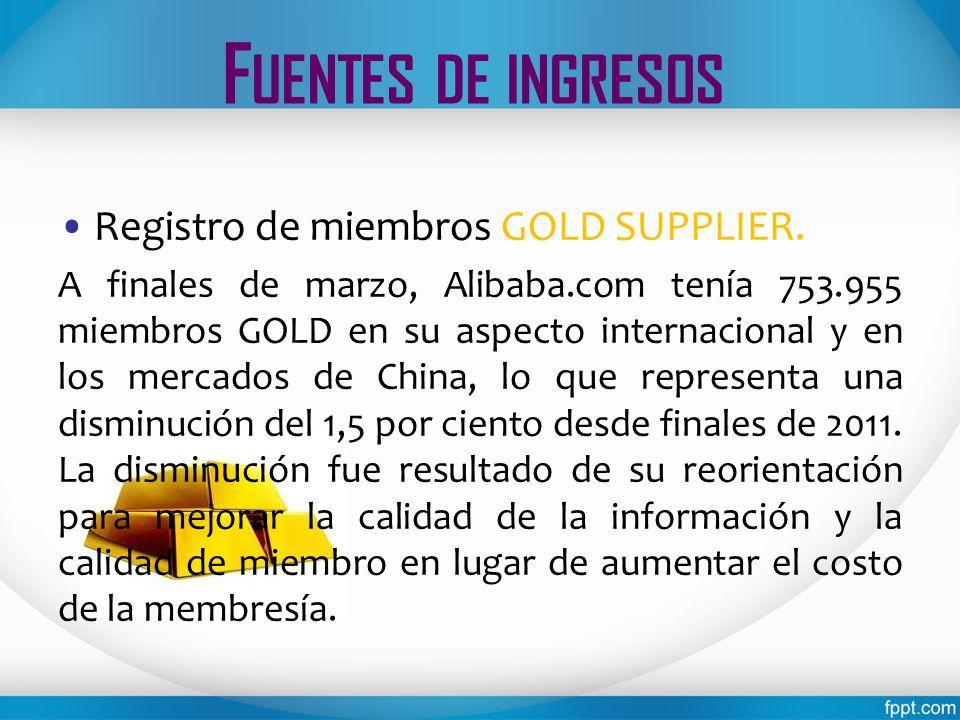 F UENTES DE INGRESOS Registro de miembros GOLD SUPPLIER. A finales de marzo, Alibaba.com tenía 753.955 miembros GOLD en su aspecto internacional y en