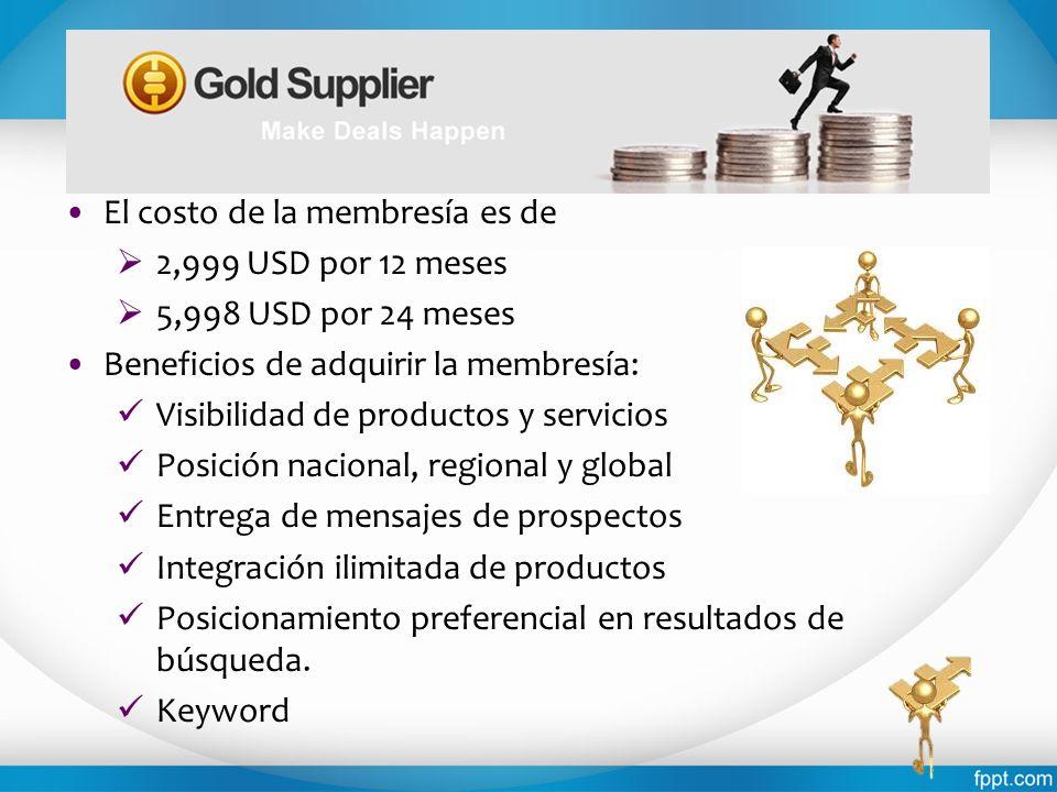 El costo de la membresía es de 2,999 USD por 12 meses 5,998 USD por 24 meses Beneficios de adquirir la membresía: Visibilidad de productos y servicios