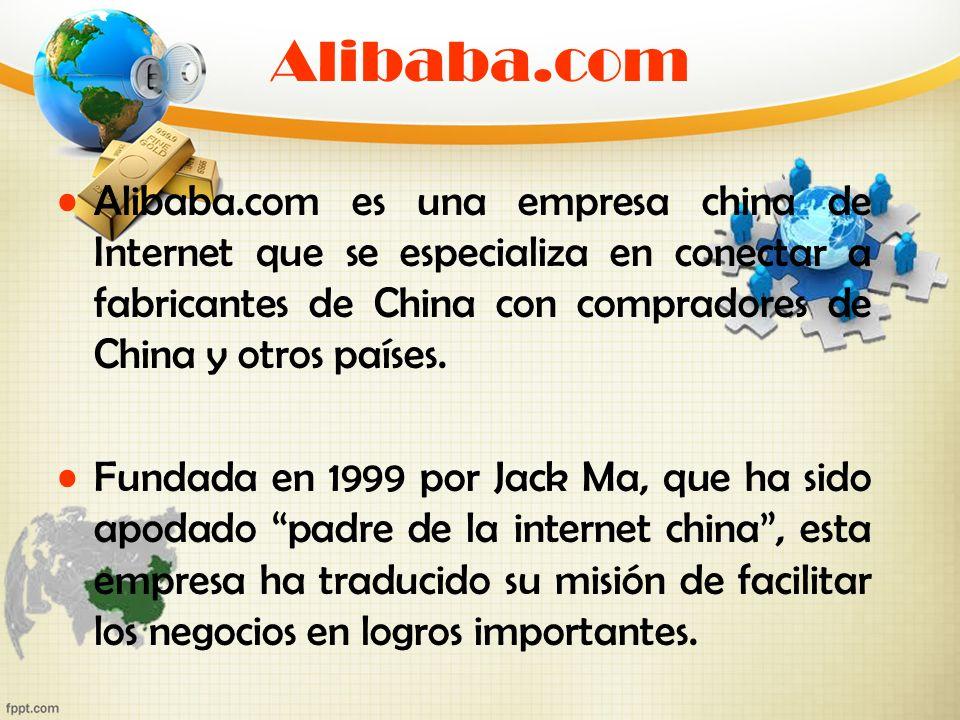 Alibaba.com Alibaba.com es una empresa china de Internet que se especializa en conectar a fabricantes de China con compradores de China y otros países