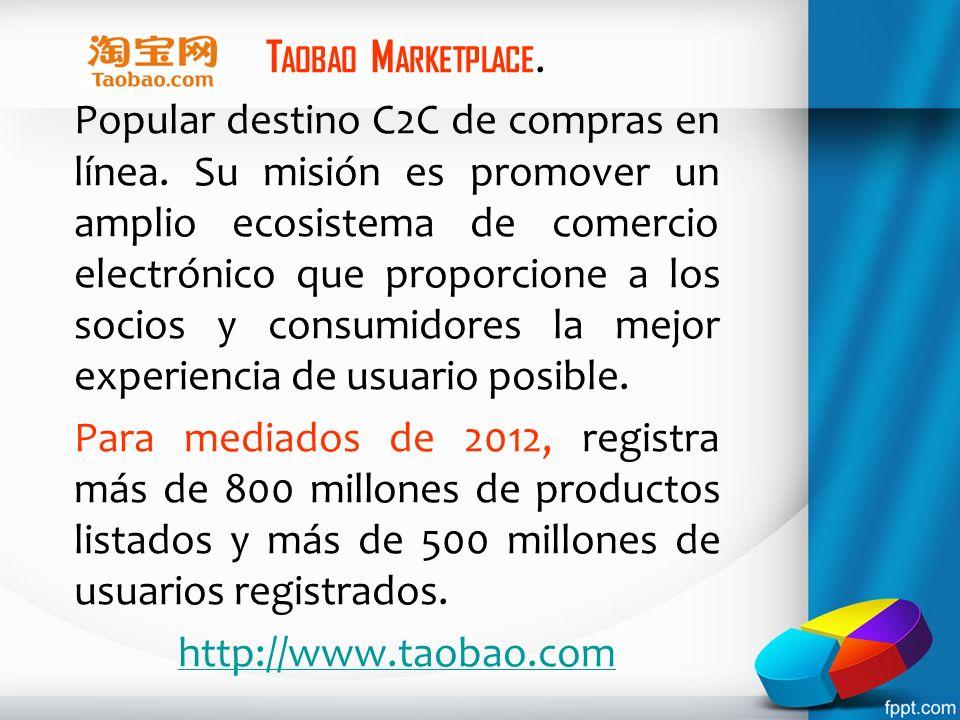 T AOBAO M ARKETPLACE. Popular destino C2C de compras en línea. Su misión es promover un amplio ecosistema de comercio electrónico que proporcione a lo