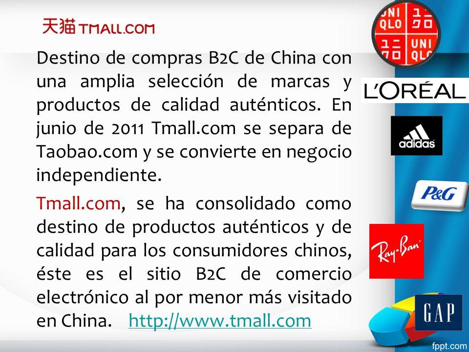 Destino de compras B2C de China con una amplia selección de marcas y productos de calidad auténticos. En junio de 2011 Tmall.com se separa de Taobao.c
