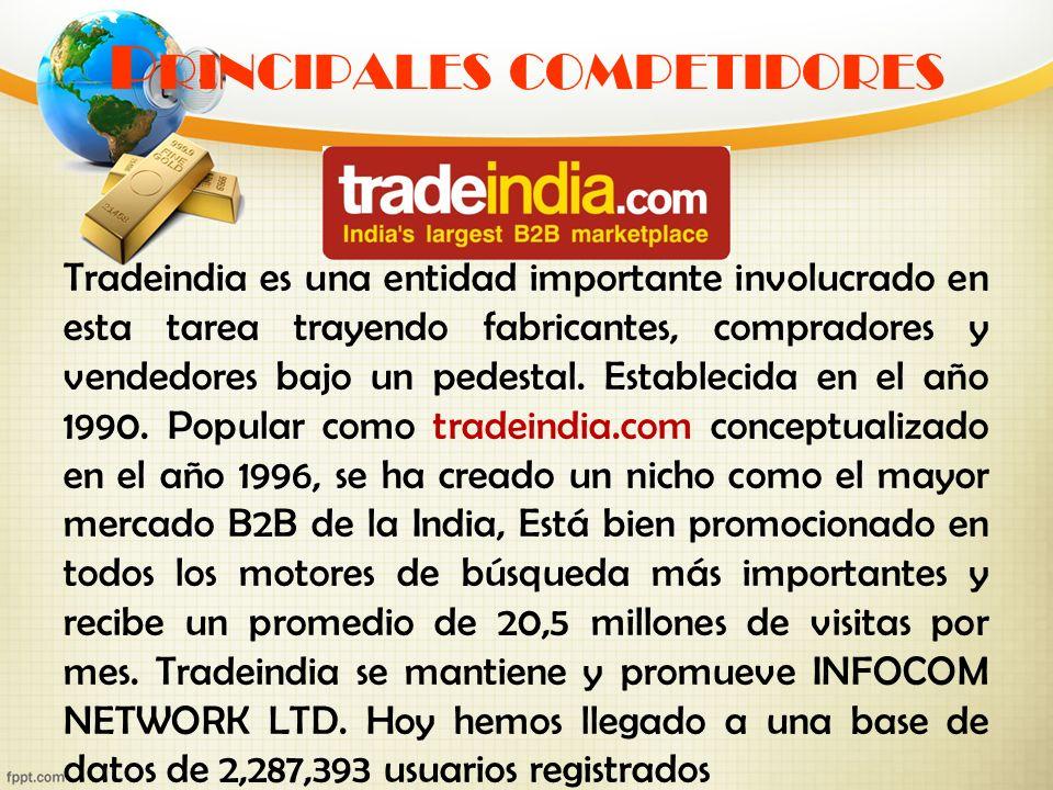 P RINCIPALES COMPETIDORES Tradeindia es una entidad importante involucrado en esta tarea trayendo fabricantes, compradores y vendedores bajo un pedest