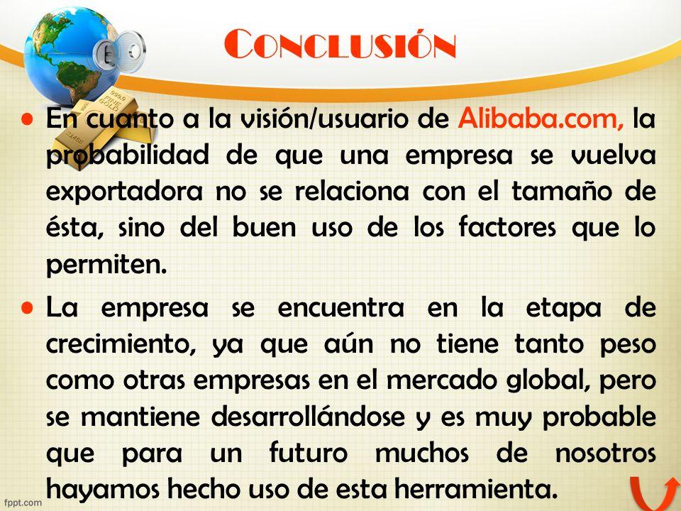 C ONCLUSIÓN En cuanto a la visión/usuario de Alibaba.com, la probabilidad de que una empresa se vuelva exportadora no se relaciona con el tamaño de és