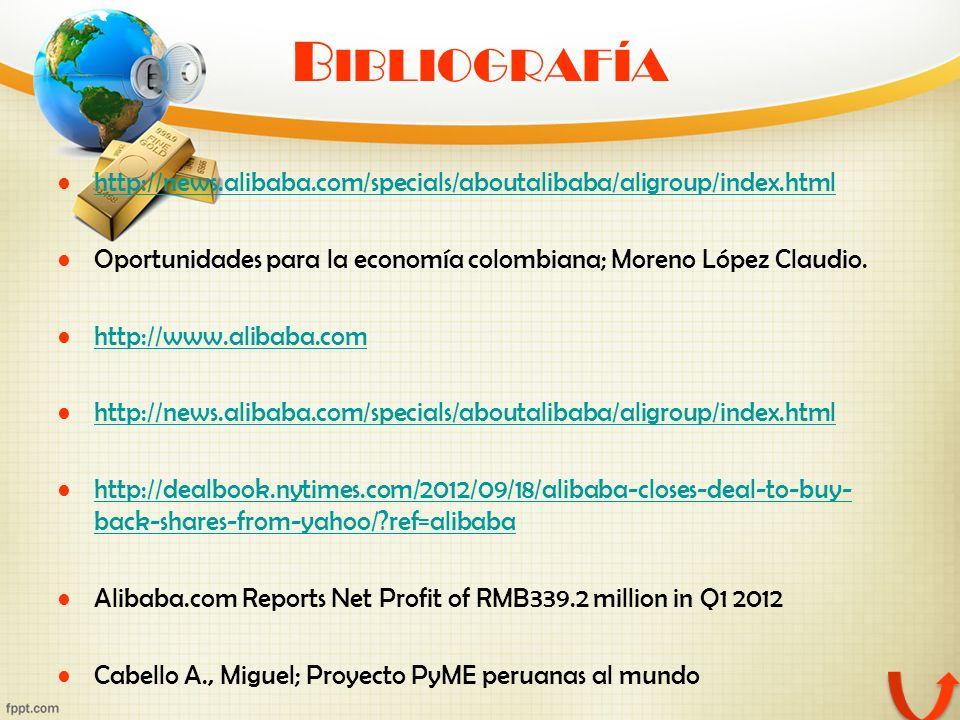 B IBLIOGRAFÍA http://news.alibaba.com/specials/aboutalibaba/aligroup/index.html Oportunidades para la economía colombiana; Moreno López Claudio. http: