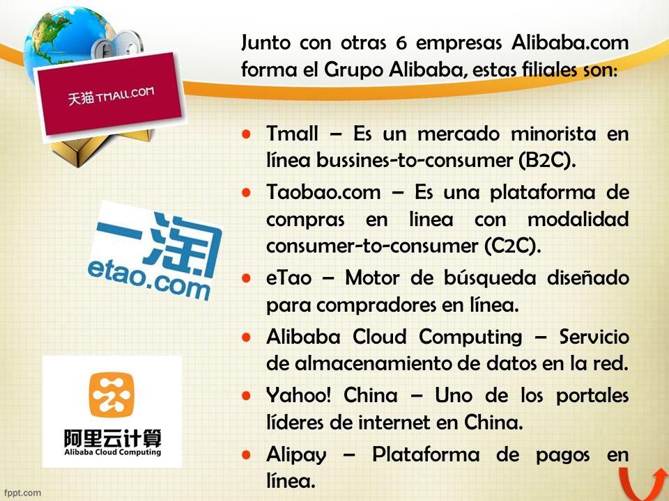 Junto con otras 6 empresas Alibaba.com forma el Grupo Alibaba, estas filiales son: Tmall – Es un mercado minorista en línea bussines-to-consumer (B2C)