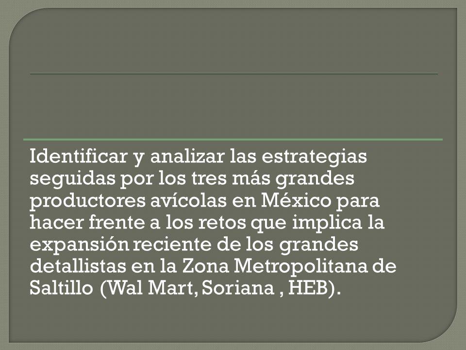 Identificar y analizar las estrategias seguidas por los tres más grandes productores avícolas en México para hacer frente a los retos que implica la expansión reciente de los grandes detallistas en la Zona Metropolitana de Saltillo (Wal Mart, Soriana, HEB).