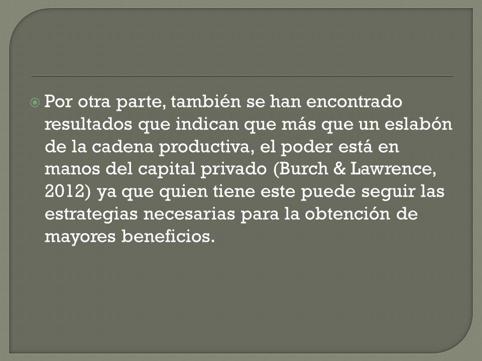 Por otra parte, también se han encontrado resultados que indican que más que un eslabón de la cadena productiva, el poder está en manos del capital privado (Burch & Lawrence, 2012) ya que quien tiene este puede seguir las estrategias necesarias para la obtención de mayores beneficios.