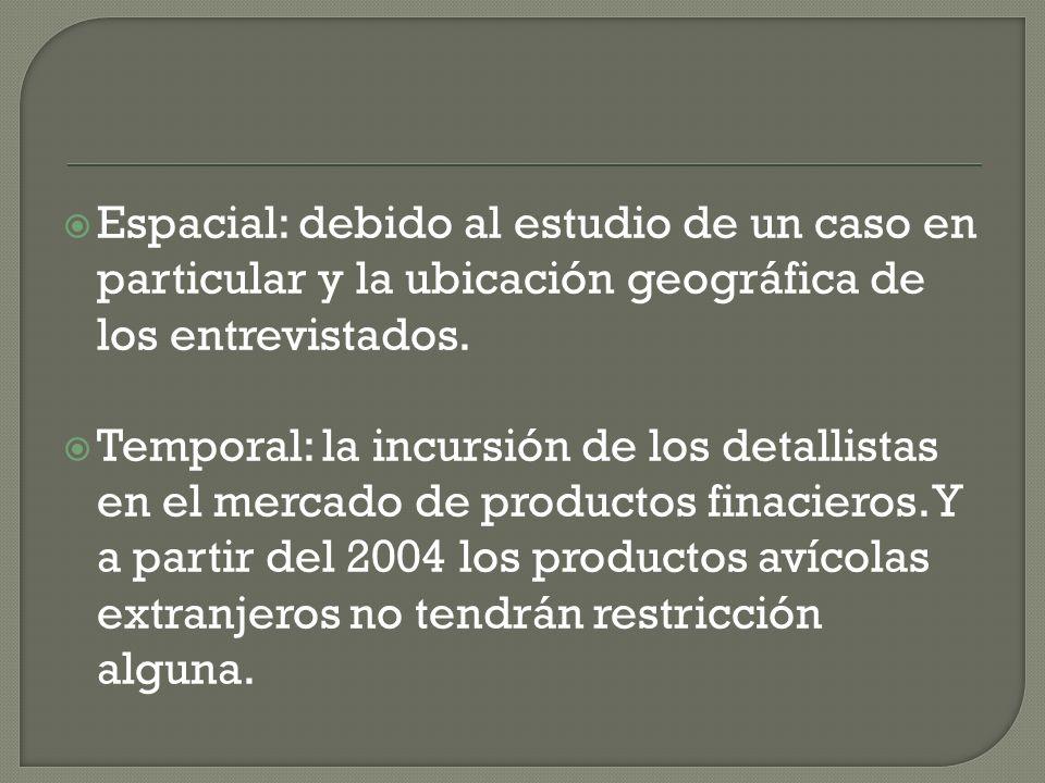 Espacial: debido al estudio de un caso en particular y la ubicación geográfica de los entrevistados.