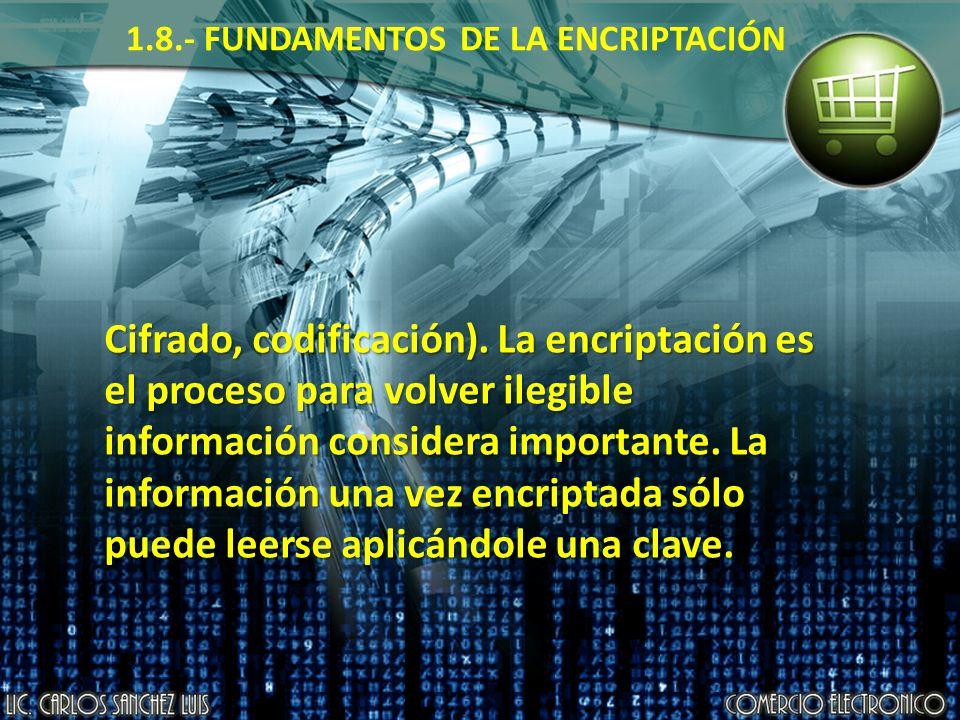 1.8.- FUNDAMENTOS DE LA ENCRIPTACIÓN Cifrado, codificación). La encriptación es el proceso para volver ilegible información considera importante. La i