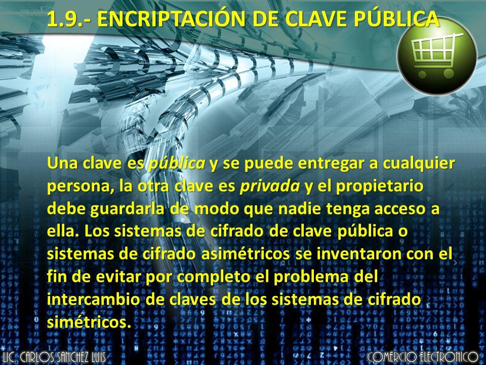 1.9.- ENCRIPTACIÓN DE CLAVE PÚBLICA Una clave es pública y se puede entregar a cualquier persona, la otra clave es privada y el propietario debe guardarla de modo que nadie tenga acceso a ella.