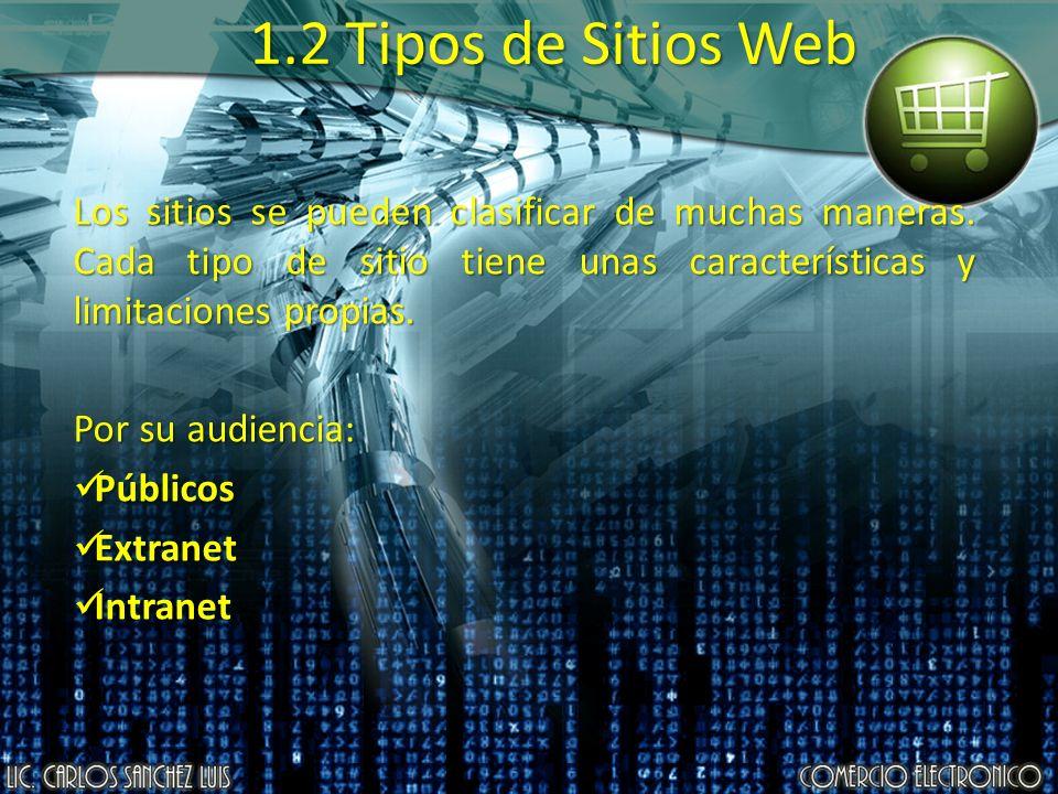 1.2 Tipos de Sitios Web Los sitios se pueden clasificar de muchas maneras. Cada tipo de sitio tiene unas características y limitaciones propias. Por s