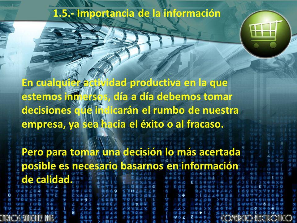 1.5.- Importancia de la información En cualquier actividad productiva en la que estemos inmersos, día a día debemos tomar decisiones que indicarán el rumbo de nuestra empresa, ya sea hacia el éxito o al fracaso.