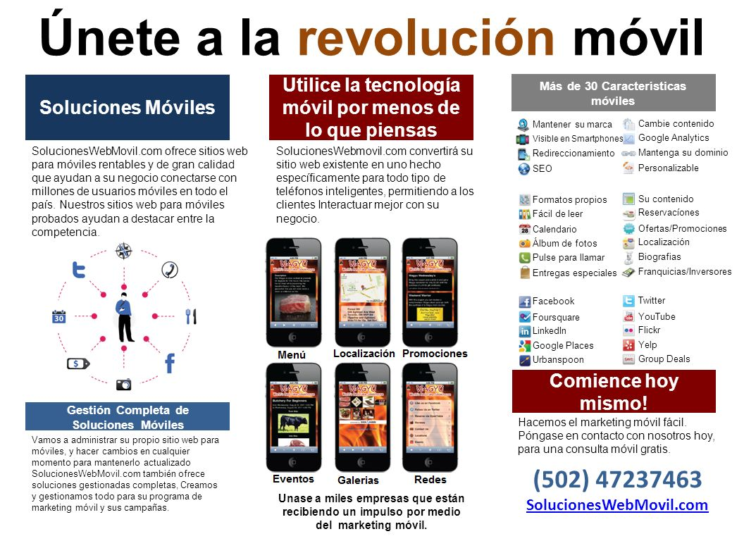 Soluciones Móviles SolucionesWebMovil.com ofrece sitios web para móviles rentables y de gran calidad que ayudan a su negocio conectarse con millones de usuarios móviles en todo el país.