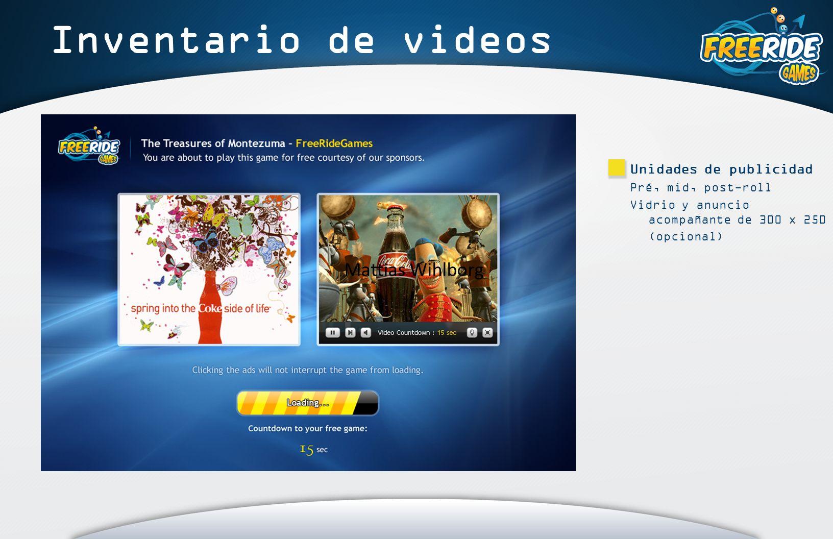 Inventario de videos Unidades de publicidad Pré, mid, post-roll Vidrio y anuncio acompañante de 300 x 250 (opcional) Mattias Wihlborg
