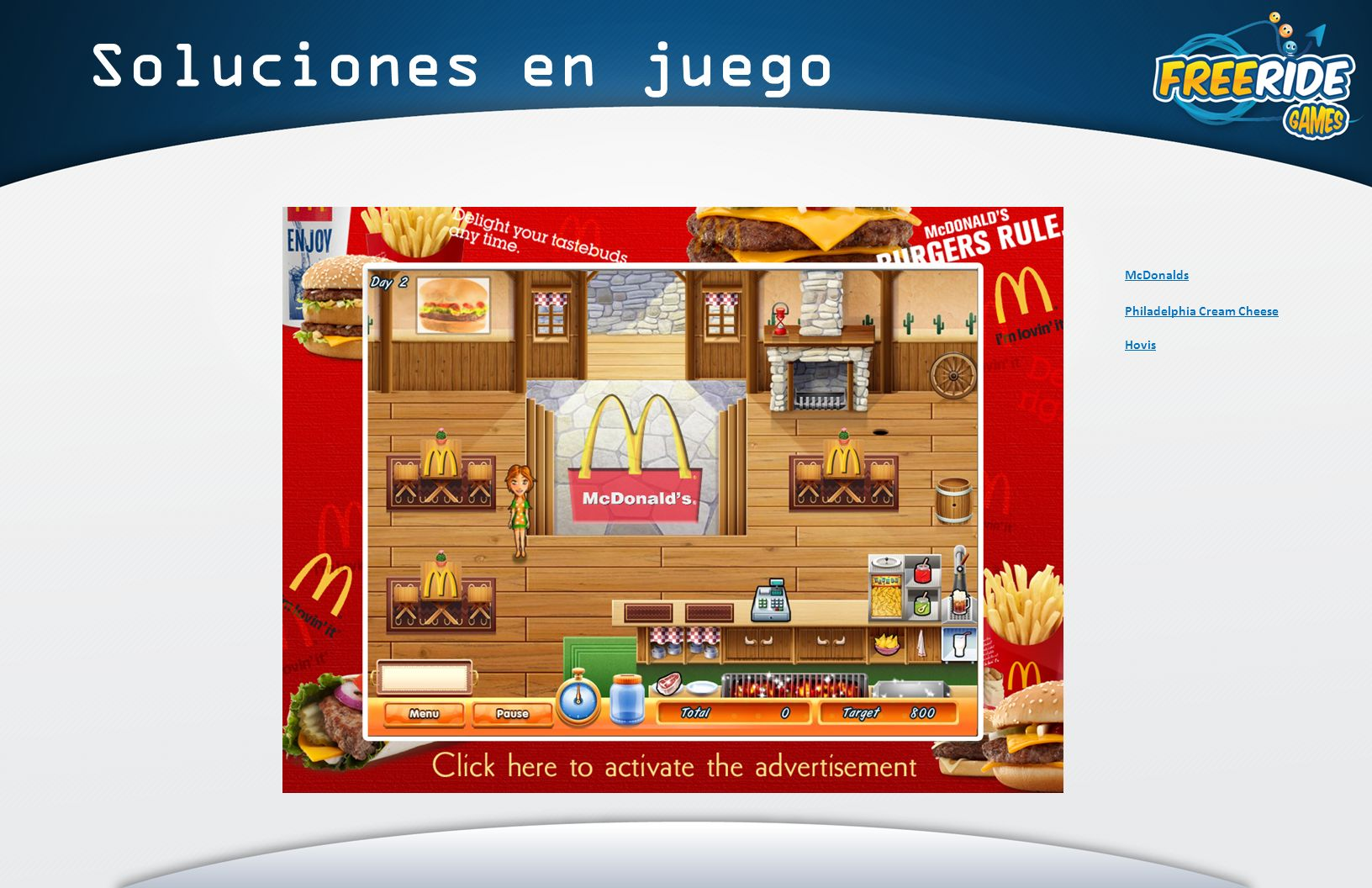 Soluciones en juego McDonalds Philadelphia Cream Cheese Hovis