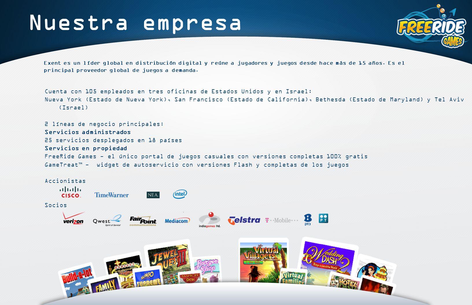 Nuestra empresa Exent es un líder global en distribución digital y reúne a jugadores y juegos desde hace más de 15 años.