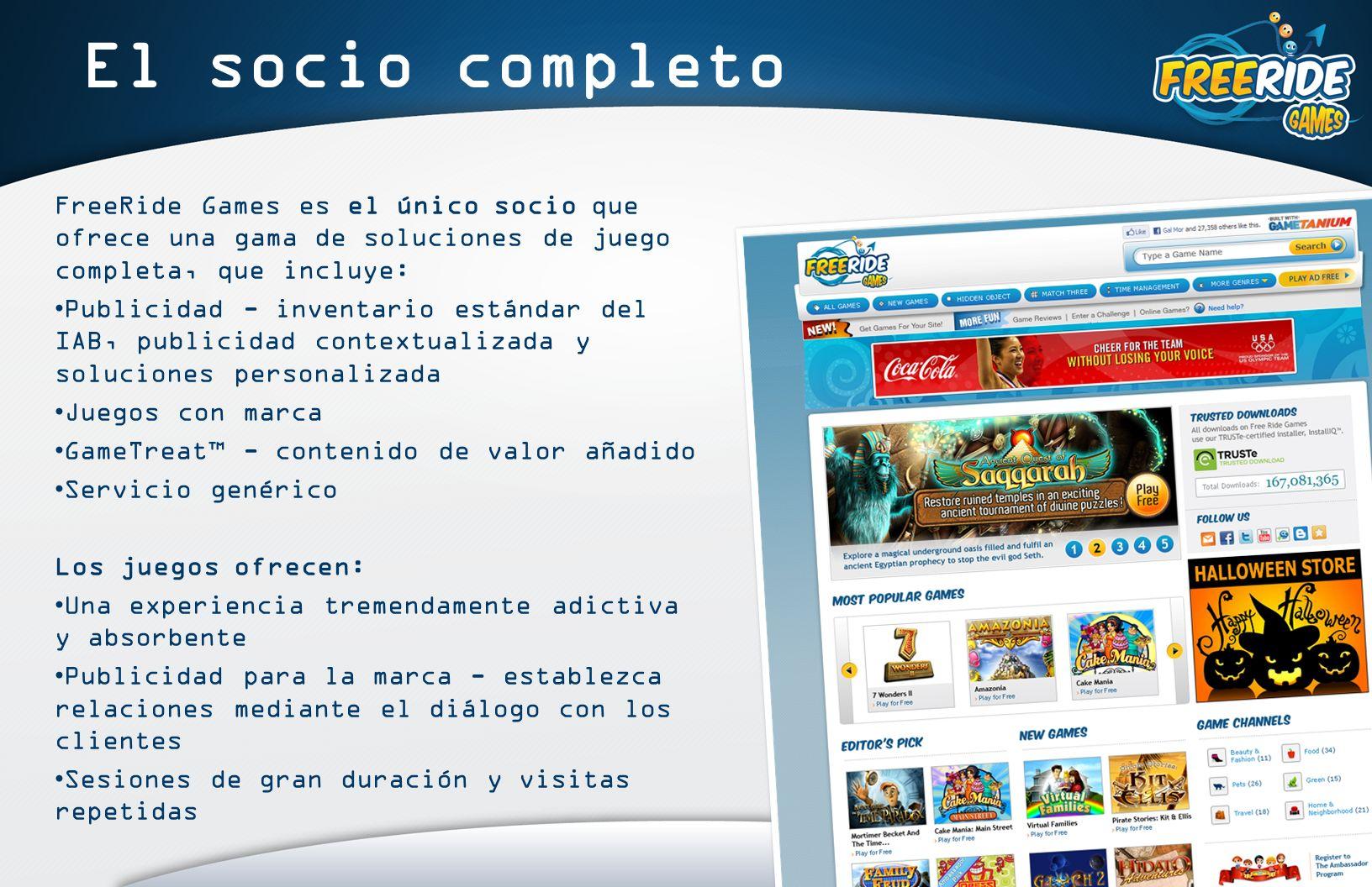FreeRide Games engancha Más del 60% juega a diario Media de tiempo de juego por sesión de 45 minutos 11 horas al mes El único sitio de juegos casuales que proporciona a los usuarios un acceso ilimitado a la versión completa de los juegos más populares y totalmente GRATIS