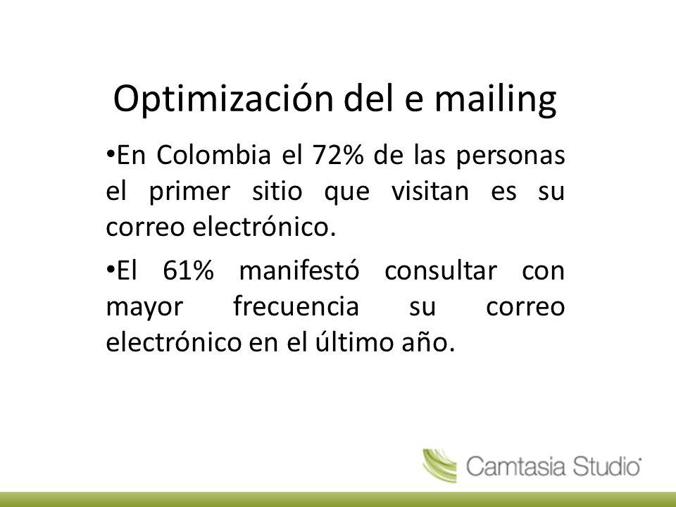 Optimización del e mailing En Colombia el 72% de las personas el primer sitio que visitan es su correo electrónico.