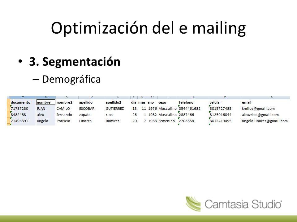 Optimización del e mailing 3. Segmentación – Demográfica