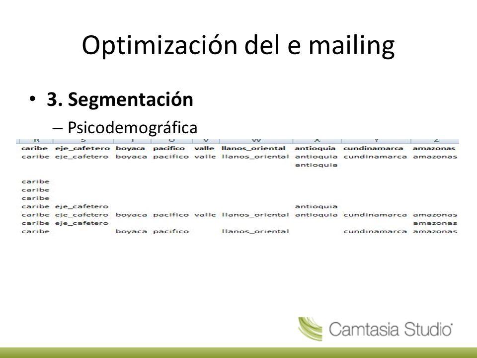 Optimización del e mailing 3. Segmentación – Psicodemográfica
