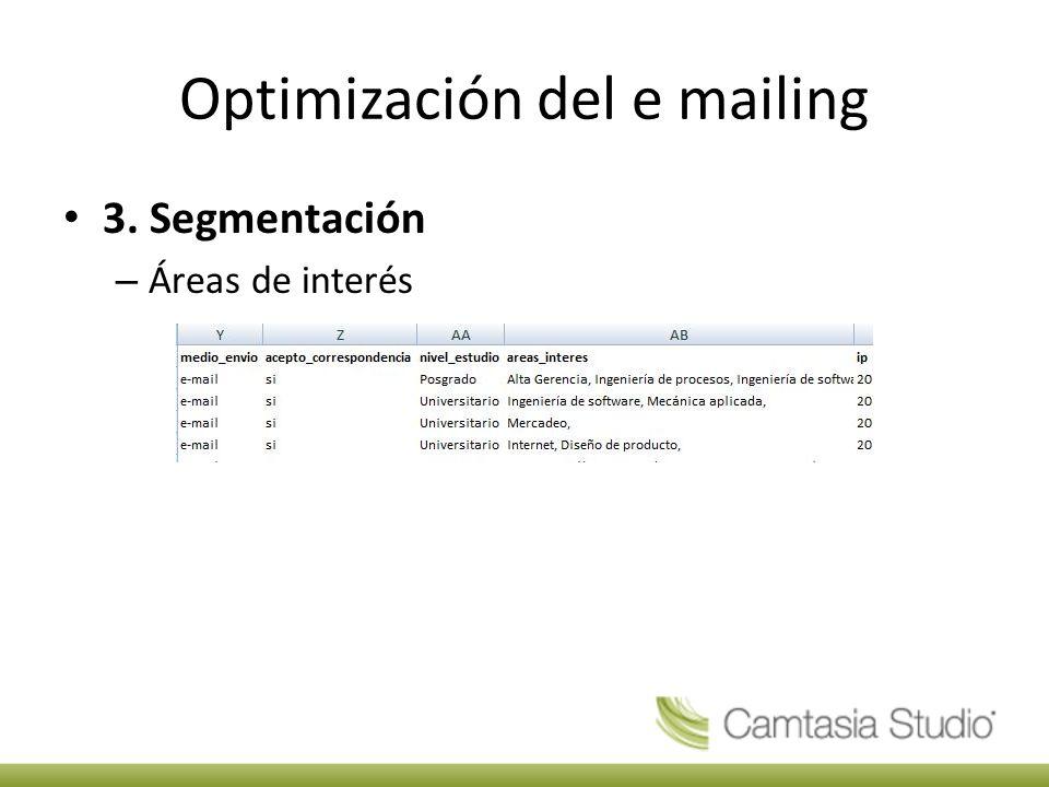 Optimización del e mailing 3. Segmentación – Áreas de interés