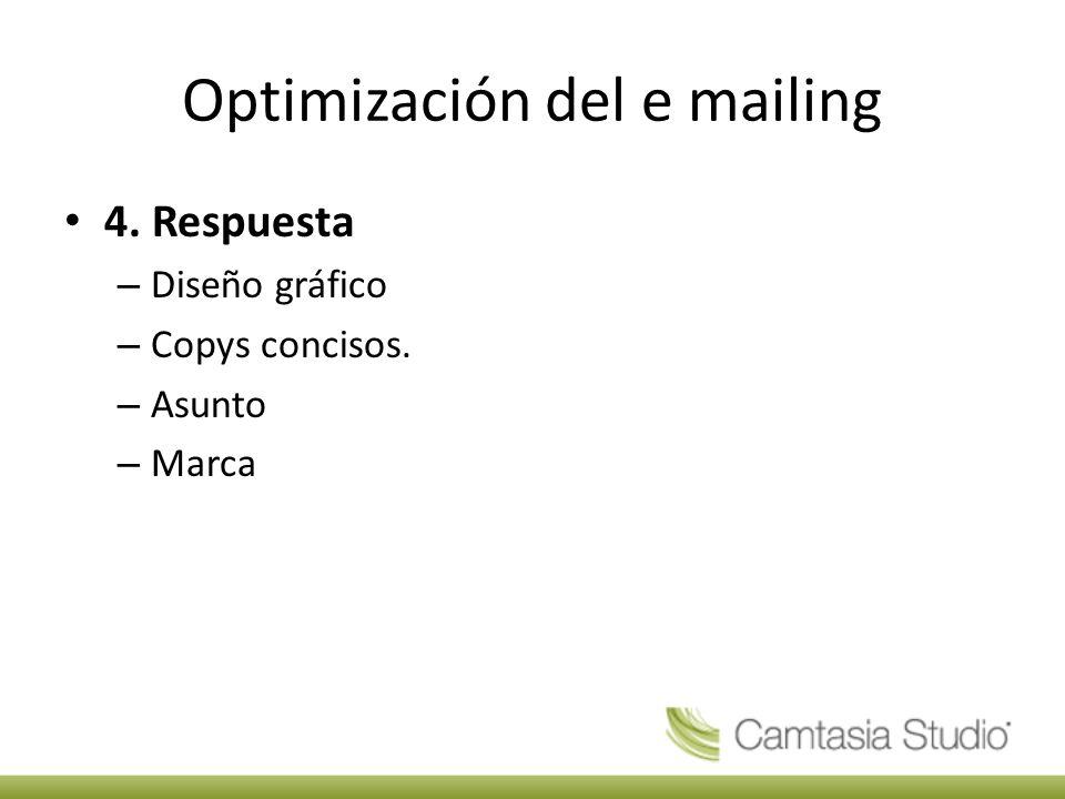 Optimización del e mailing 4. Respuesta – Diseño gráfico – Copys concisos. – Asunto – Marca