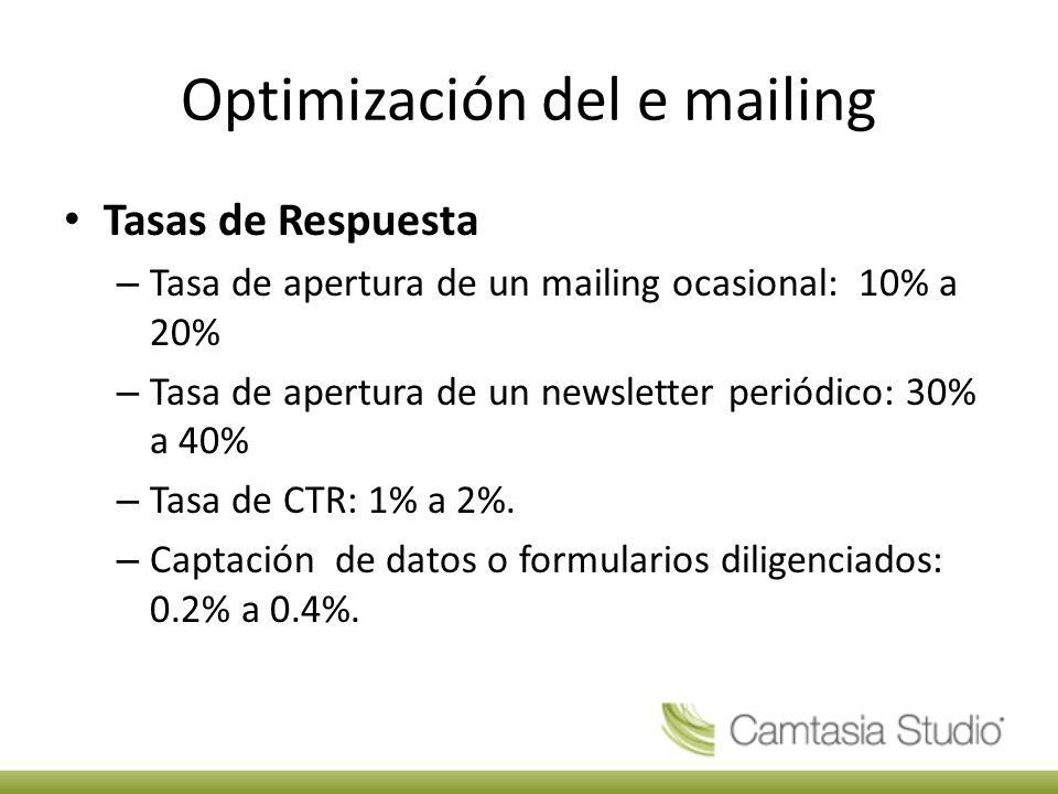 Optimización del e mailing Tasas de Respuesta – Tasa de apertura de un mailing ocasional: 10% a 20% – Tasa de apertura de un newsletter periódico: 30% a 40% – Tasa de CTR: 1% a 2%.