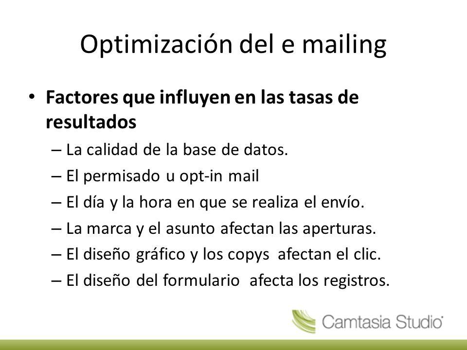 Optimización del e mailing Factores que influyen en las tasas de resultados – La calidad de la base de datos.