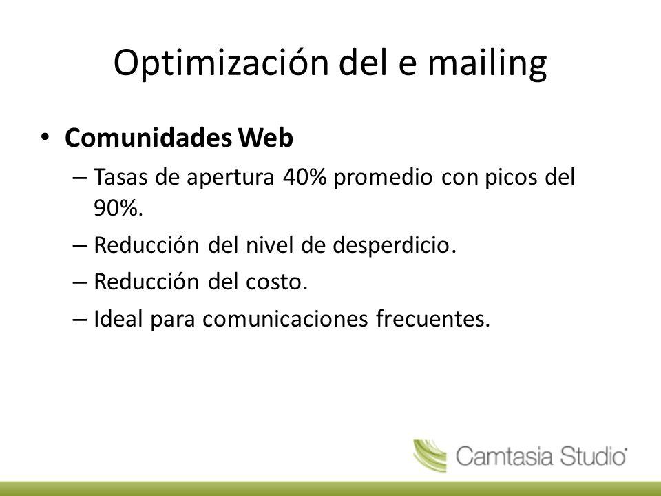 Optimización del e mailing Comunidades Web – Tasas de apertura 40% promedio con picos del 90%.