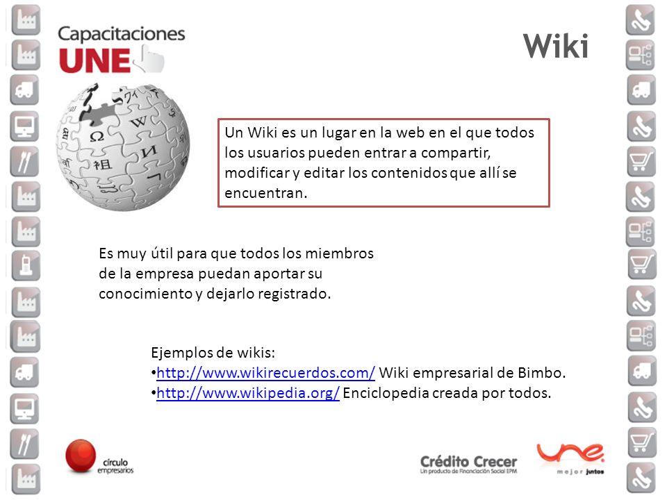 Un Wiki es un lugar en la web en el que todos los usuarios pueden entrar a compartir, modificar y editar los contenidos que allí se encuentran. Es muy